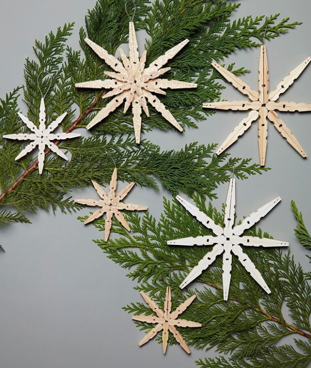 clothespin-snowflakes